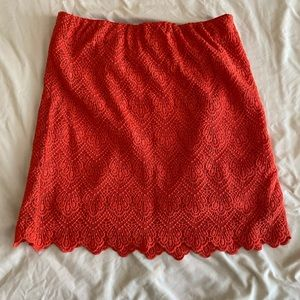 Red scalloped lace J.Crew skirt
